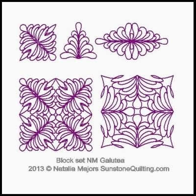 Digital Quilting Design Block Set Galutea by Natalia Majors.