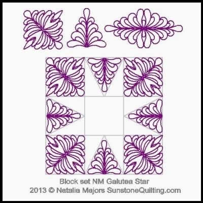 Digital Quilting Design Block Set Galutea Star by Natalia Majors.