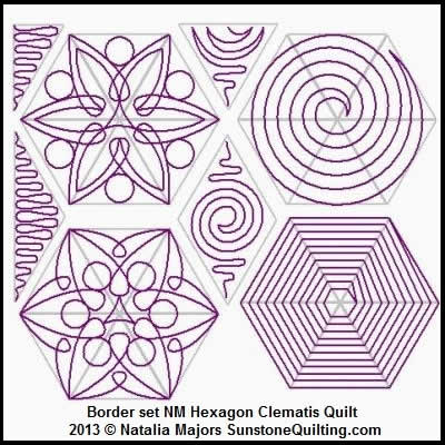 Digital Quilting Design Block Set Hexagon Clematis Quilt by Natalia Majors.