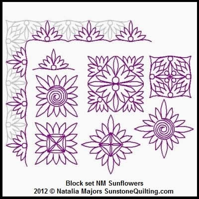 Digital Quilting Design Block Set Sunflowers by Natalia Majors.