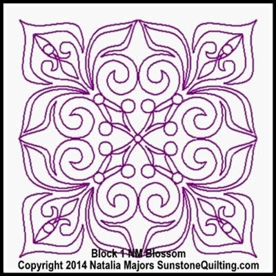 Digital Quilting Design Blossom Block 1 by Natalia Majors.