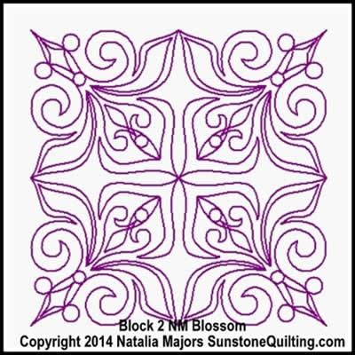 Digital Quilting Design Blossom Block 2 by Natalia Majors.