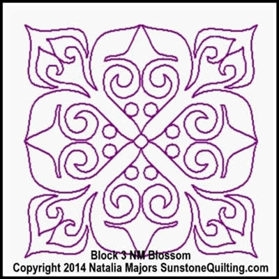 Digital Quilting Design Blossom Block 3 by Natalia Majors.