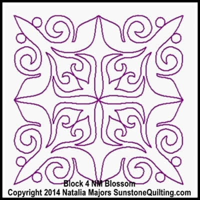 Digital Quilting Design Blossom Block 4 by Natalia Majors.
