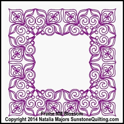 Digital Quilting Design Blossom Frame by Natalia Majors.