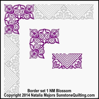 Digital Quilting Design Blossom Border Set 1 by Natalia Majors.