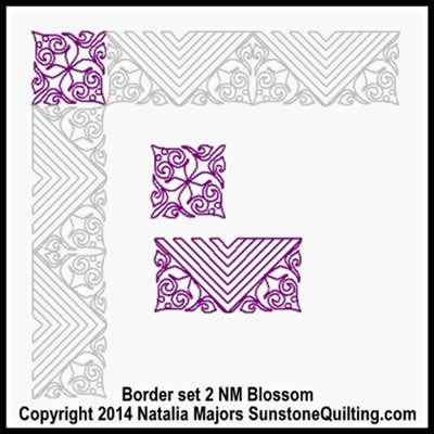 Digital Quilting Design Blossom Border Set 2 by Natalia Majors.
