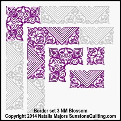 Digital Quilting Design Blossom Border Set 3 by Natalia Majors.