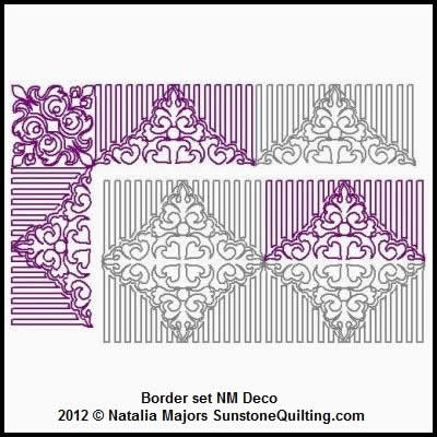 Digital Quilting Design Border Set Deco by Natalia Majors.