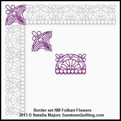 Digital Quilting Design Border Set Folkart Flowers by Natalia Majors.