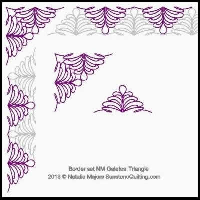 Digital Quilting Design Border Set Galutea Triangles by Natalia Majors.