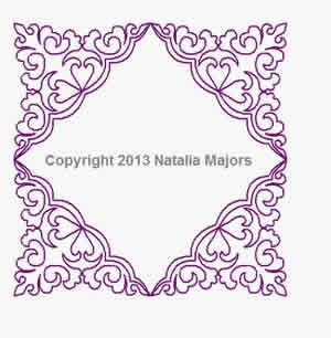 Digital Quilting Design Deco Frame by Natalia Majors.