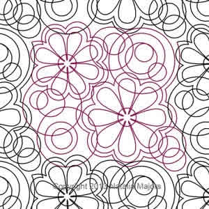 Digital Quilting Design Folk Art Flowers E2E or Border by Natalia Majors.