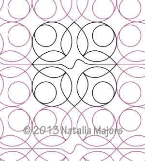 Digital Quilting Design Geometric Flowers Border or Panto by Natalia Majors.
