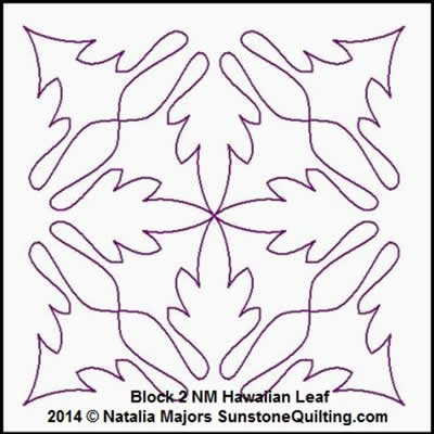 Digital Quilting Design Hawaiian Leaf Block 2 by Natalia Majors.
