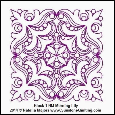 Digital Quilting Design Morning Lily Block 1 by Natalia Majors.