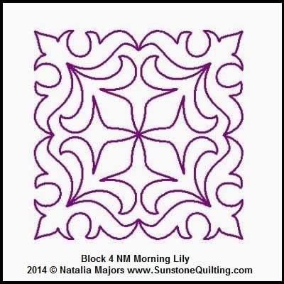 Digital Quilting Design Morning Lily Block 4 by Natalia Majors.