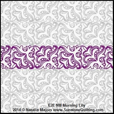 Digital Quilting Design Morning Lily  Border or E2E by Natalia Majors.