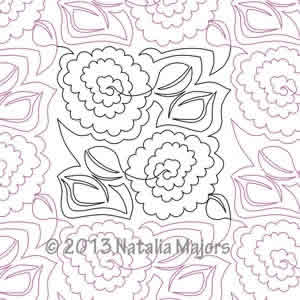 Digital Quilting Design Natalia's Rose by Natalia Majors.