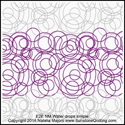 Digital Quilting Design Water Drops Simple by Natalia Majors.