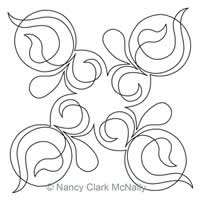 Digital Quilting Design Swoops and Swirls Block 4 by Nancy Clark McNally.