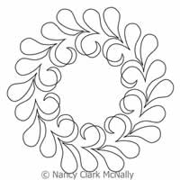 Digital Quilting Design Swoops and Swirls Wreath by Nancy Clark McNally.