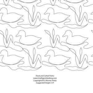 Digital Quilting Design Duck & Cattail Panto by Norma Sharp.