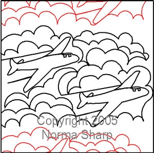 Digital Quilting Design Airplane Pantograph by Norma Sharp.