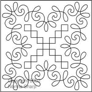 Digital Quilting Design Chantilly Lace Block 3 by Norma Sharp.