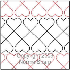 Digital Quilting Design Crib Hearts by Norma Sharp.