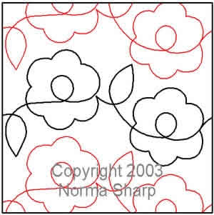Digital Quilting Design Daisies Pantograph by Norma Sharp.