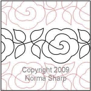 Digital Quilting Design Double Rose Vine by Norma Sharp.