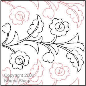 Digital Quilting Design Jacobean Pantograph by Norma Sharp.