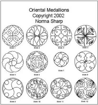 Digital Quilting Design Oriental Medallions by Norma Sharp.