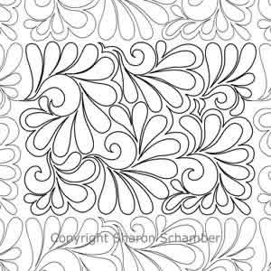 Digital Quilting Design Scrolled Feathers B2B by Sharon Schamber.
