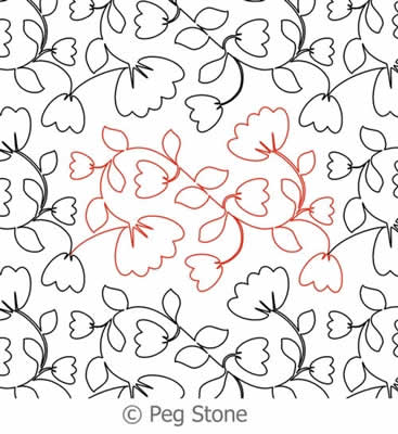 Digital Quilting Design Cotton Flowers Panto by Peg Stone.
