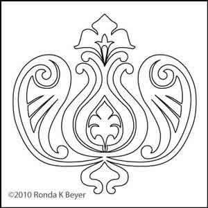 Digital Quilting Design Bohemian Tulip Motif by Ronda Beyer.