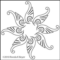 Digital Quilting Design Bohemian Tulip Motif 8 by Ronda Beyer.