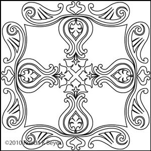 Digital Quilting Design Bohemian Tulip Medallion 1 by Ronda Beyer.