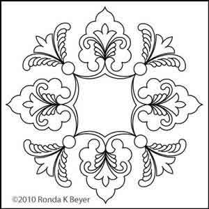 Digital Quilting Design Cathedral Lace Block 6 by Ronda Beyer.