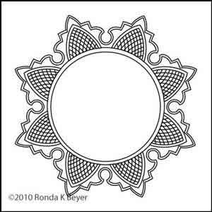 Digital Quilting Design Cathedral Lace Round Frame by Ronda Beyer.