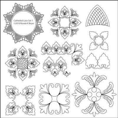 Digital Quilting Design Cathedral Lace Set 1 by Ronda Beyer.