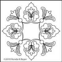 Digital Quilting Design Cathedral Lace Block 5 by Ronda Beyer.