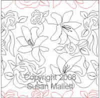Digital Quilting Design Roses and Lillies by Susan Mallett.
