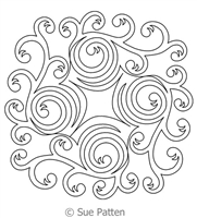 Digital Quilting Design Vines with Spiral Block 2 by Sue Patten.