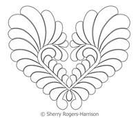 Digital Quilting Design Goosebumps Feather Heart by Sherry Rogers-Harrison.
