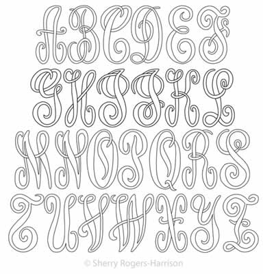 Digital Quilting Design Monogram Letters Set by Sherry Rogers-Harrison.