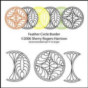 Digital Quilting Design Feather Circle Border by Sherry Rogers-Harrison.