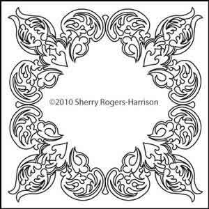 Digital Quilting Design Feathered Fleur Frame by Sherry Rogers-Harrison.