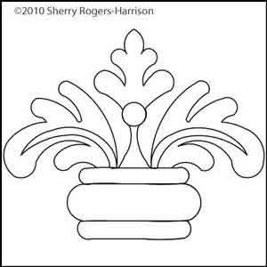 Digital Quilting Design Feathered Fleur Motif 4 by Sherry Rogers-Harrison.